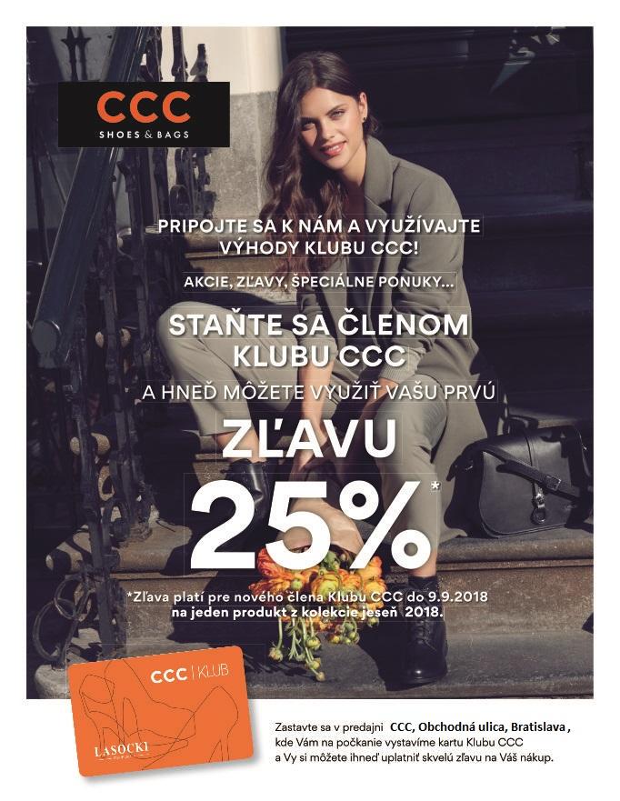4fef7b64db STAŇTE SA ČLENOM KLUBU CCC! A hneď získajte zľavu 25%!