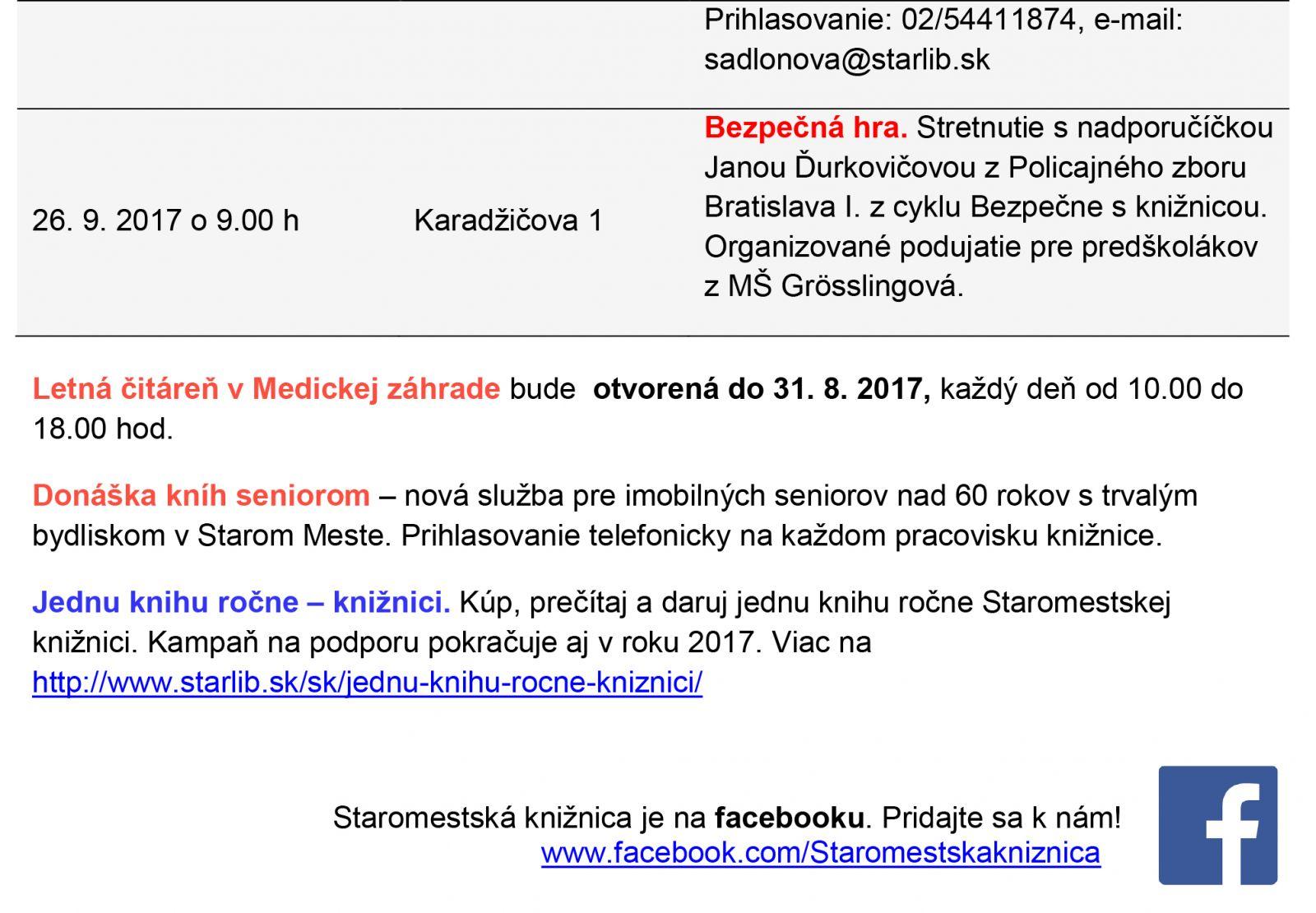 6ce6323c4 Staromestská knižnica informuje o podujatiach v auguste – septembri 2017